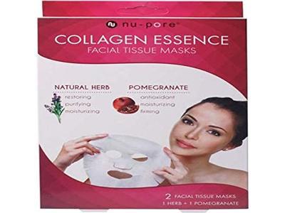 Nu-Pore Collagen Essence Facial Tissue Masks, Natural Herb & Pomegranate