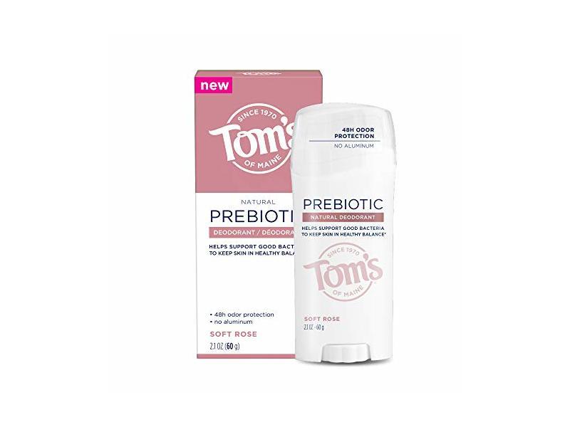 Tom's of Maine Prebiotic Aluminum-Free Natural Deodorant, Soft Rose, 2.1 oz.