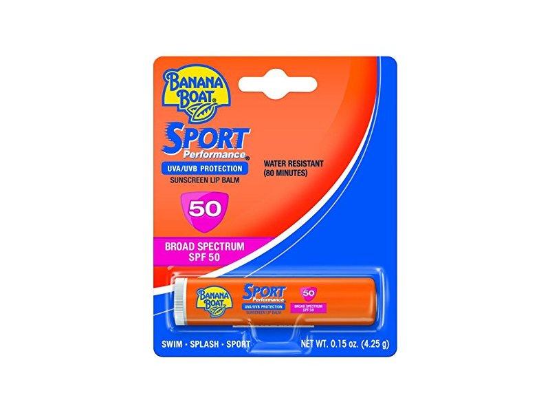 Banana Boat Sunscreen Sport Performance Broad Spectrum Sun Care Sunscreen Lip Balm, SPF 50, 0.15 Ounce