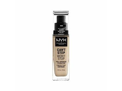 NYX Professional Makeup Can't Stop Won't Stop Full Coverage Foundation, Nude, 1 Fl Oz