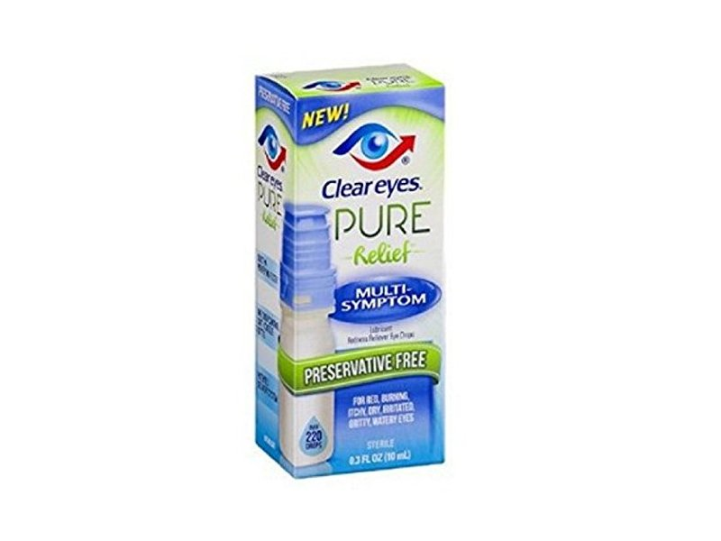 Clear Eyes Pure Relief Multi-Symptom Eye Drops, 0.34 Fluid Ounce