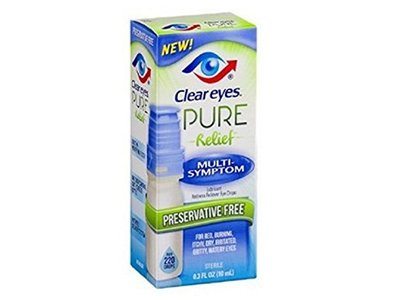 Clear Eyes Pure Relief Multi-Symptom Eye Drops, 0.34 Fluid Ounce - Image 1
