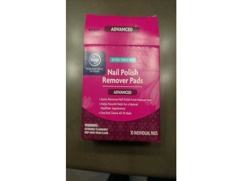 Kroger Nail Polish Remover Pads, Advanced, 10 ct Ingredients and Reviews