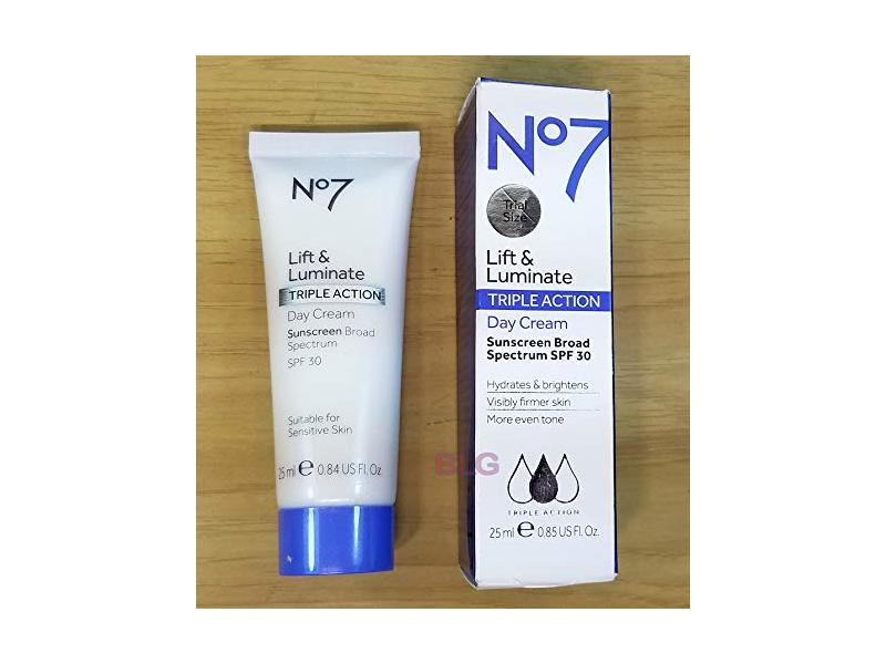 No7 Lift and Luminate Triple Action Day Cream Sunscreen SPF 30, 25 mL