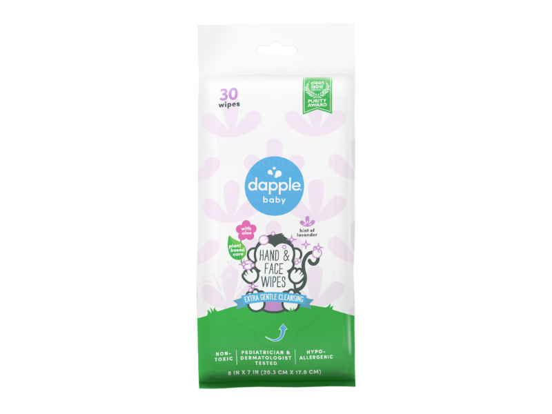 Dapple Baby Hand And Face Wipes, Lavender, 30 ct