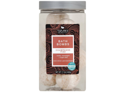 Nature's Beauty Champagne Fizz Bath Bombs, Vanilla Champagne and Sugar Cane, 10 ct