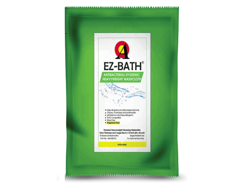 Point A Tech Ez-Bath Anti-Bacterial Wash Cloth, Fragrance Free, 8 Sheets