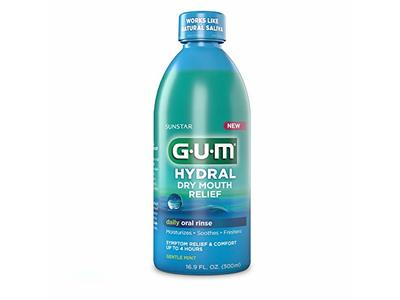 GUM Hydral Oral Rinse, Alcohol-Free Moisturizing Mint Mouthwash for Dry Mouth, 16.9 oz