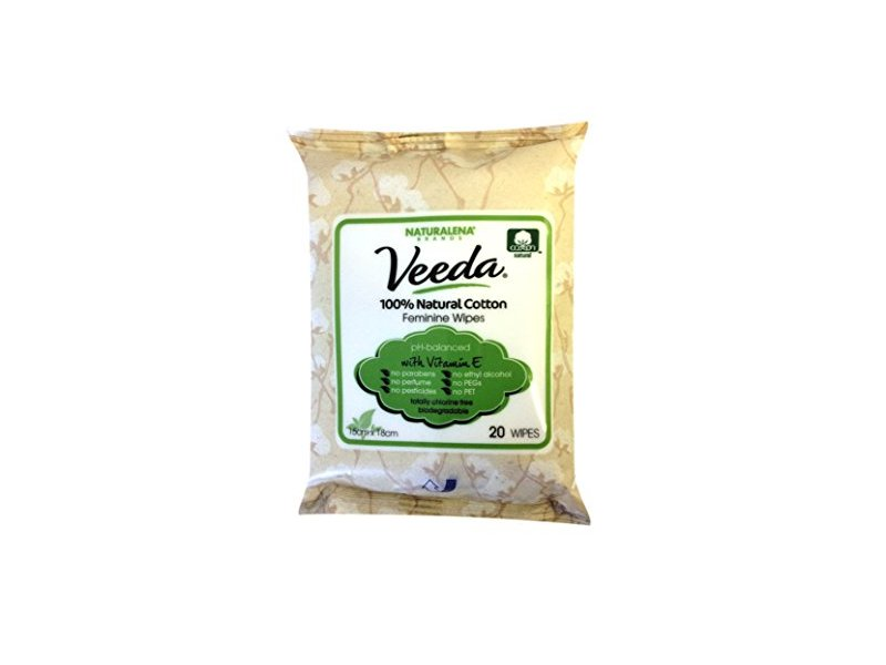 Veeda Natural All-Cotton Feminine Wipes with Vitamin E, for Sensitive Skin, 20 Count (Pack of 3)