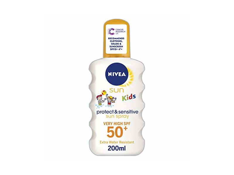 Nivea Kids Protect and Sensitive Sun Spray with SPF 50+, Very High, 200 ml