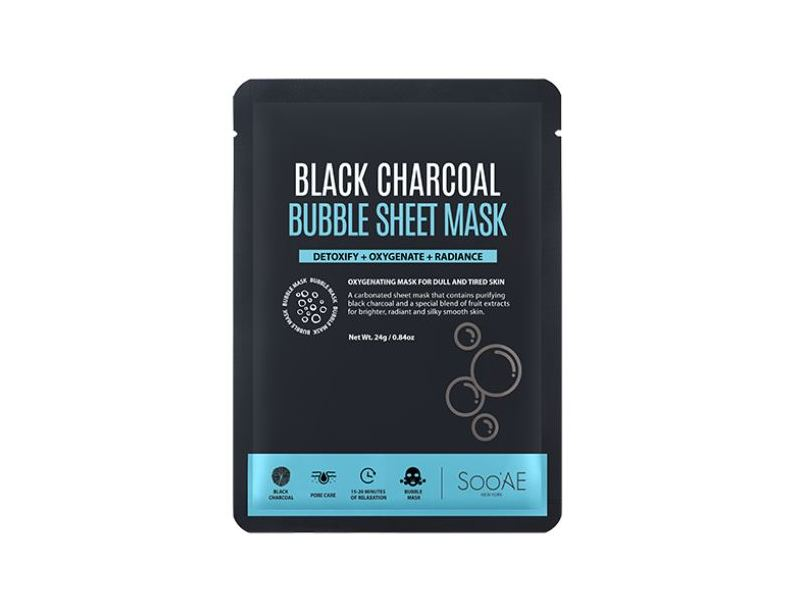 SooAE Black Charcoal Bubble Sheet Mask, 1 ct