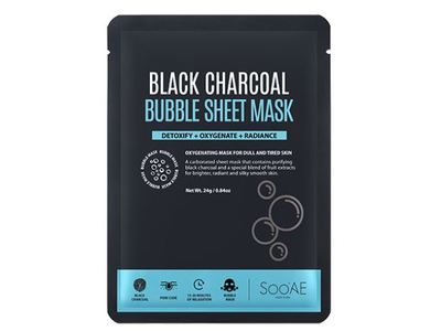 SooAE Black Charcoal Bubble Sheet Mask, 1 ct