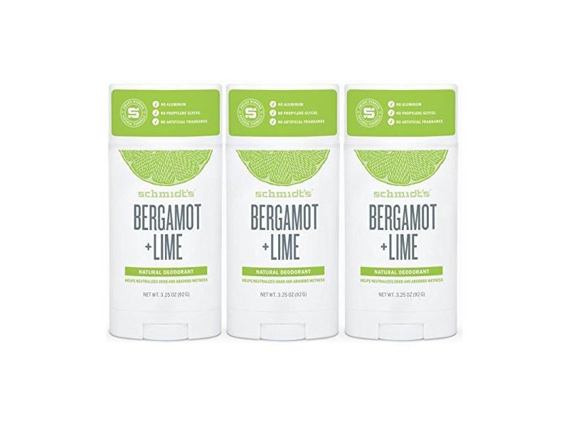 Schmidt's Natural Deodorant, Bergamot - Lime, 3.25 oz