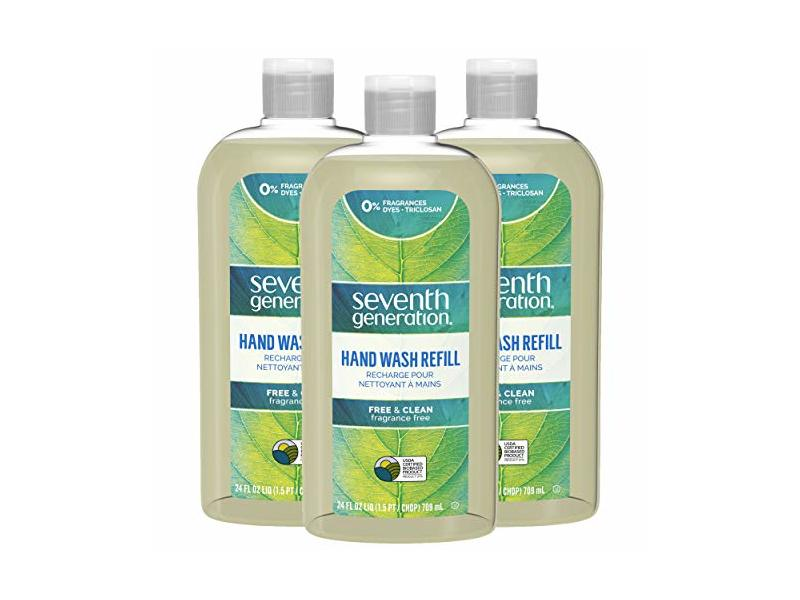 Seventh Generation Hand Wash Refills, Free & Clean, Unscented, 24 oz