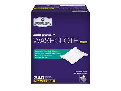 Member's Mark Adult Washcloth Disposable Moist Wipes, 240 ct