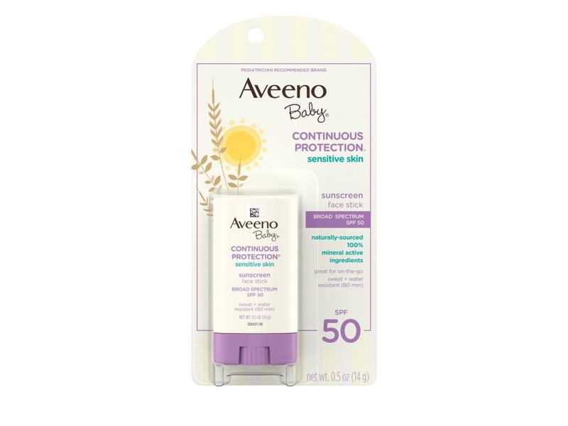 Aveeno Baby Natural Protection Face Stick SPF 50 Plus Sunblock, 0.5 Ounce