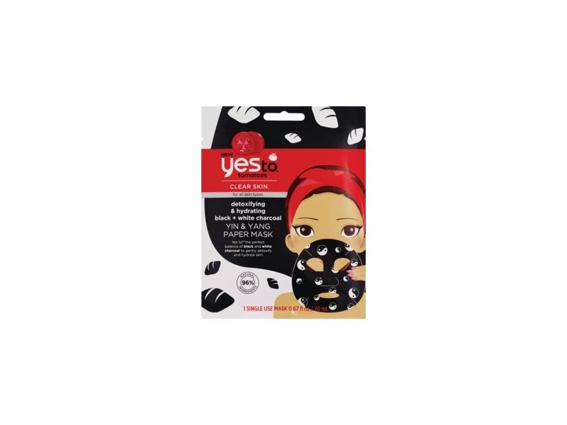 Yes To Tomatoes Yin & Yang Detoxifying & Hydrating Black + White Charcoal Paper Mask - Single Use