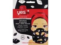 Yes To Tomatoes Yin & Yang Detoxifying & Hydrating Black + White Charcoal Paper Mask - Single Use - Image 2