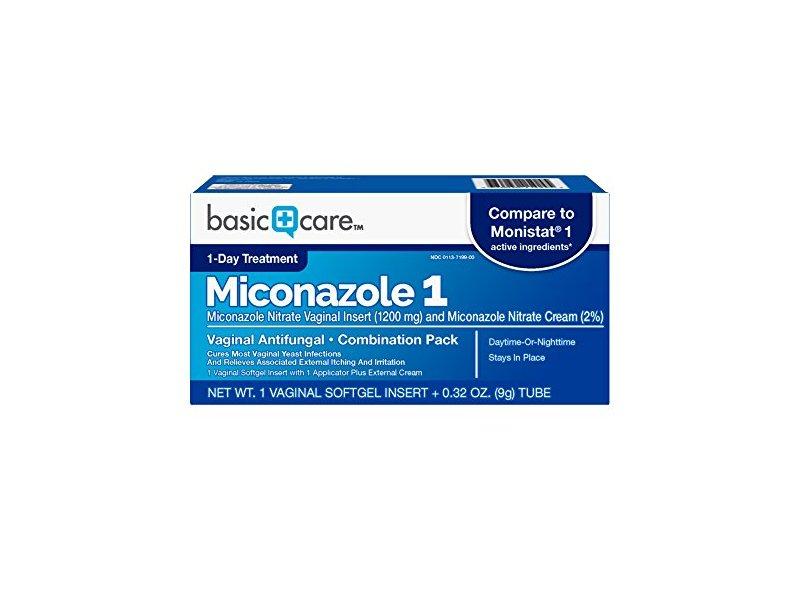 Basic Care Miconazole 1 Vaginal Antifungal, Combination Pack