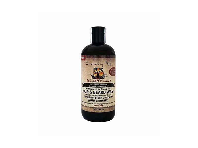 Sunny Isle Jamaican Black Castor Oil 2-in-1 Hair & Beard Wash for Men, Black, 12 Fluid Ounce