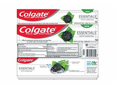 Colgate Essentials with Charcoal Fluoride Toothpaste, Fresh Mint, 4.6 oz