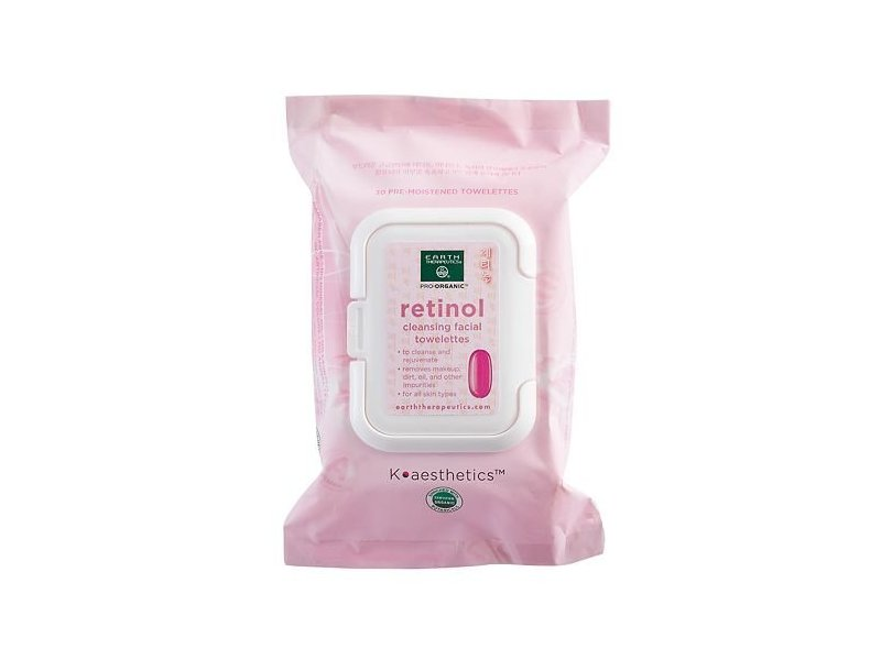 Earth Therapeutics Retinol Cleansing & Makeup Removing Facial Towelettes, 30 count