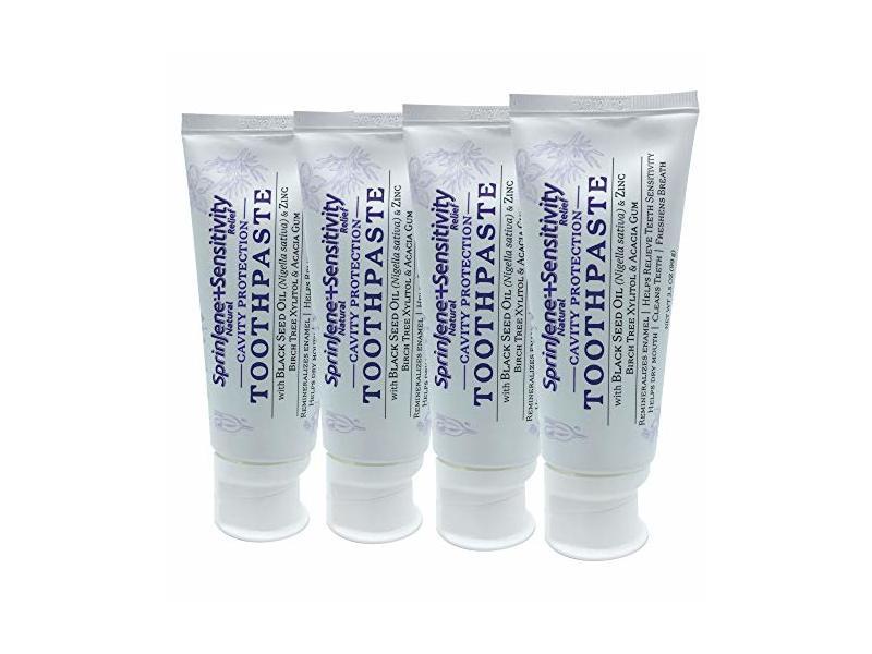 SprinJene Natural Sensitivity Cavity Protection Toothpaste, 4-pack