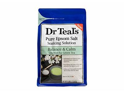 Dr. Teal's Pure Epsom Salt Soaking Solution, Balance & Calm with Matcha Green Tea, 3 lbs