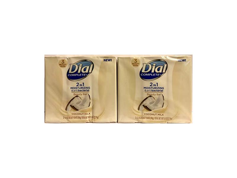 Dial Complete Beauty Bar Soap 2-in-1 Moisturizing & Antibacterial, Coconut Milk, 3 Count 3.2 OZ
