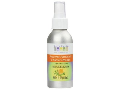 Aura Cacia Room and Body Mist, Peaceful Patchouli and Sweet Orange, 4 Fluid Ounce - Image 1
