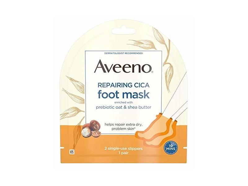 Aveeno Repairing Cica Foot Mask, Prebiotic Oat & Shea Butter, 1 ct