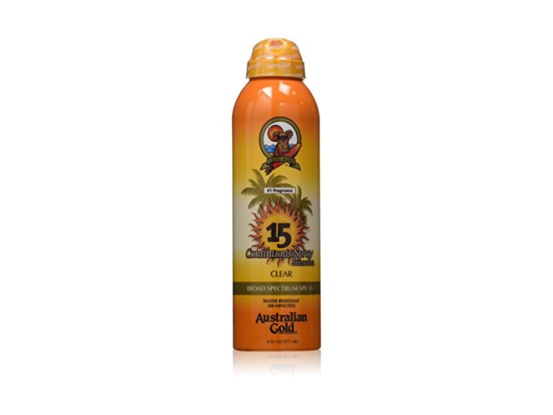 Australian Gold SPF 15 Continuous Spray Sunscreen, Clear, 6 Fl Oz