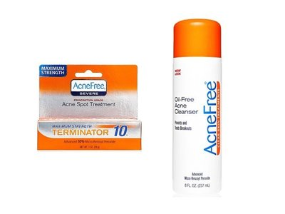 AcneFree Terminator 10 Acne Spot Treatment and Oil-Free Acne Cleanser