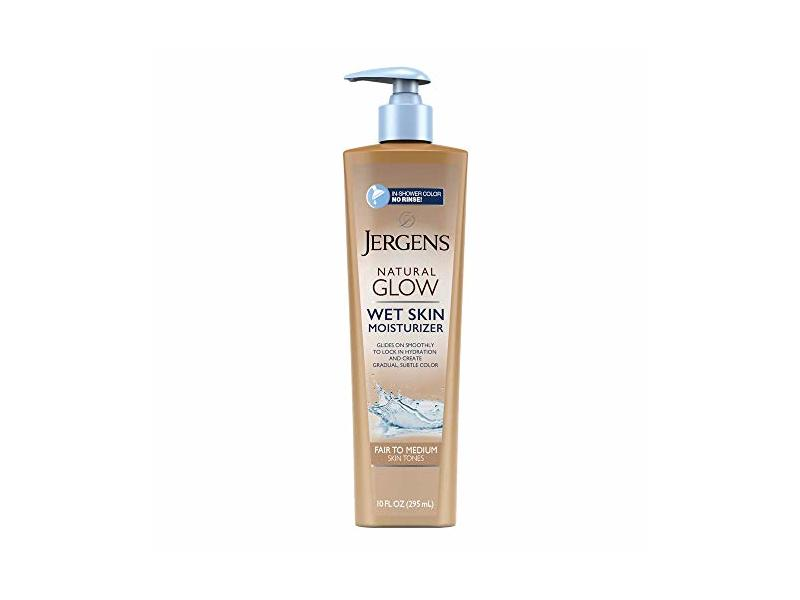 Jergens Natural Glow Wet Skin Moisturizer for Body, Fair to Medium, 10 Ounce