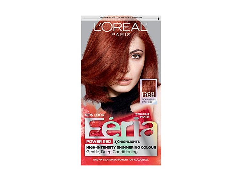 L'Oréal Paris Feria Permanent Hair Color, R68 Ruby Rush (Rich Auburn True Red)
