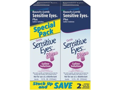 Bausch & Lomb Sensitive Eyes Plus Saline Solution, 2-count, 12-Ounce Bottles (Pack of 4)