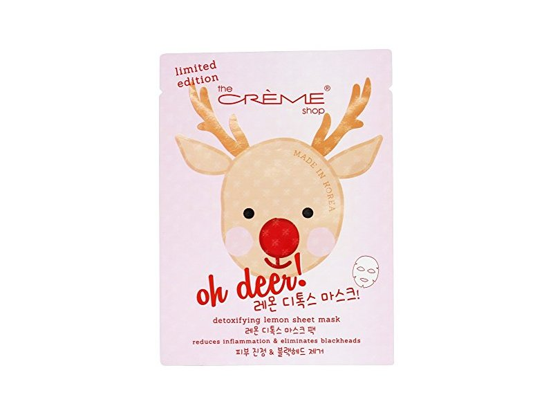 The Creme Shop - Oh Deer! Holiday Detoxifying Lemon Face Sheet Mask - 1 Count Limited Edition