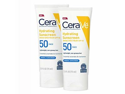 CeraVe Hydrating Sunscreen, SPF 50 Face, 2.5 oz (2 Pack) - Image 3