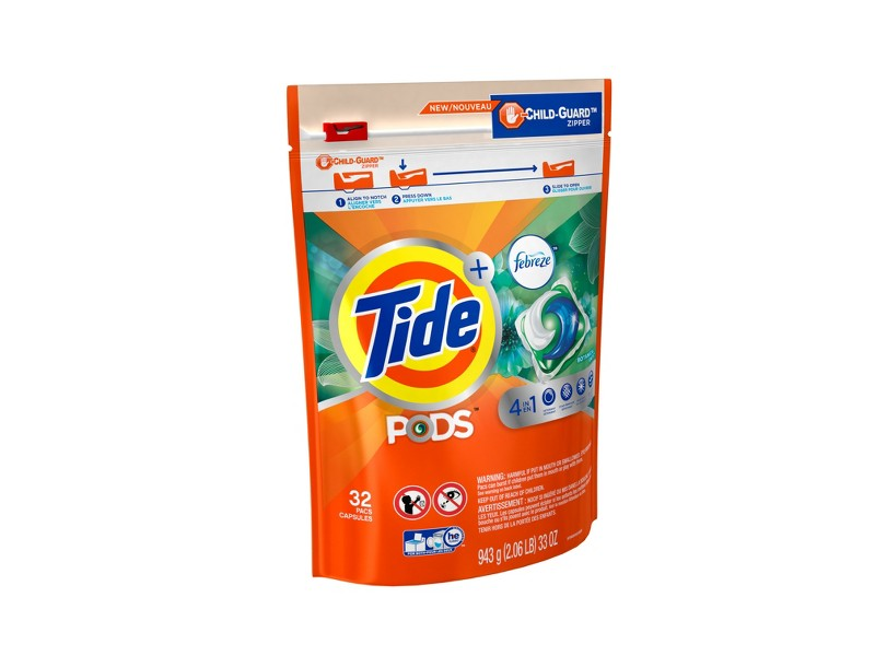 Tide PODS + Febreze 4 in 1 Odor Defense Botanical Rain HE Laundry Detergent Pacs, 32 ct