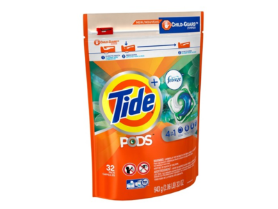 Tide PODS + Febreze 4 in 1 Odor Defense Botanical Rain HE Laundry Detergent Pacs, 32 ct - Image 1