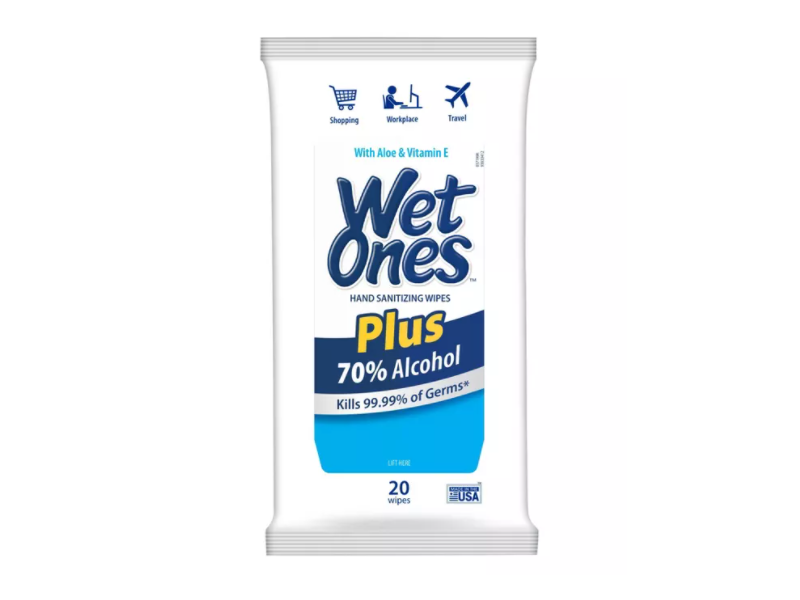 Wet Ones Plus 70% Alcohol, 20 count