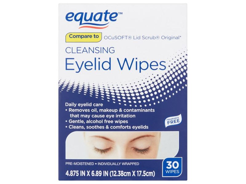 Equate Cleansing Eyelid Wipes, 30 ct