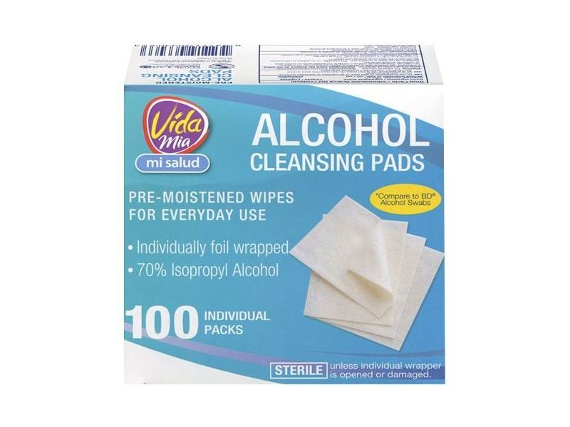Vida Mia Alcohol Cleansing Pads, 100 ct