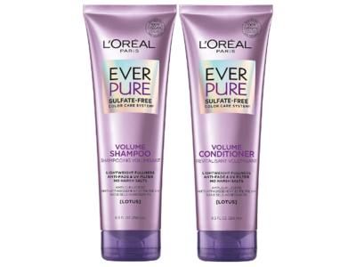L'Oreal Paris Ever Pure Volume Shampoo And Conditioner Set, Lotus, Sulfate-Free, 8.5 fl oz/250 mL