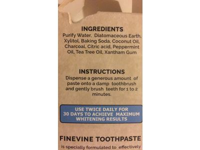 Fine Vine Activated Coconut Charcoal Toothpaste, Mint, 4 oz - Image 4