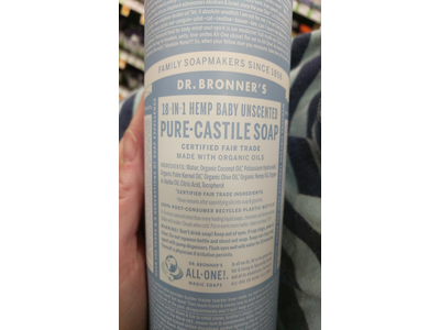 Dr. Bronner's 18-in-1 Hemp Baby Unscented Pure-Castile Soap, 32 fl. oz. - Image 4