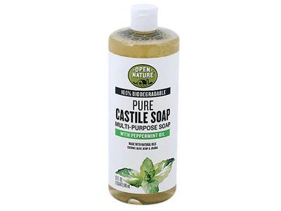 Open Nature Pure Castile Soap, Peppermint Oil, 32 fl oz