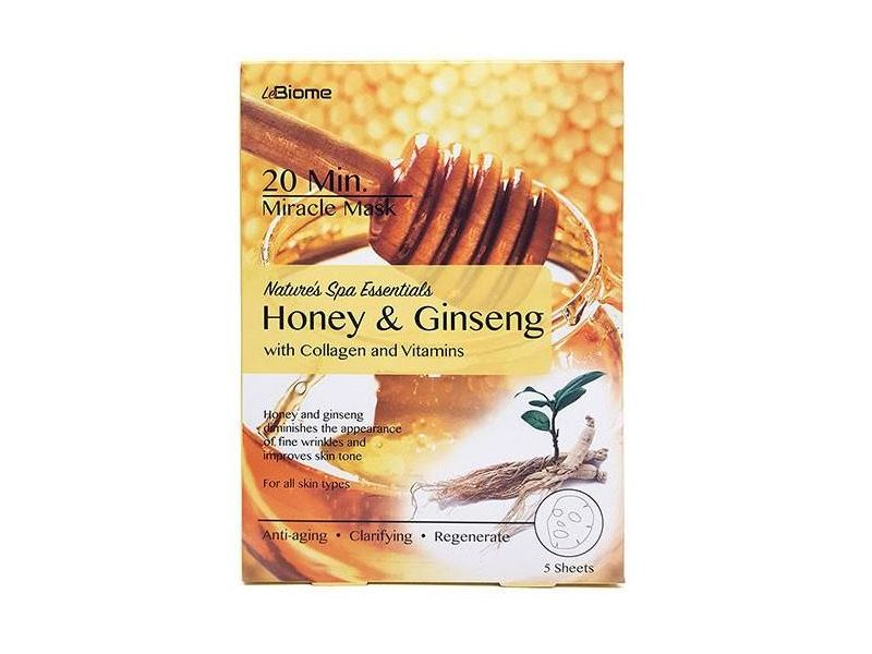 LeBiome Nature's Spa Essentials Miracle Mask, Honey & Ginseng, 5 ct