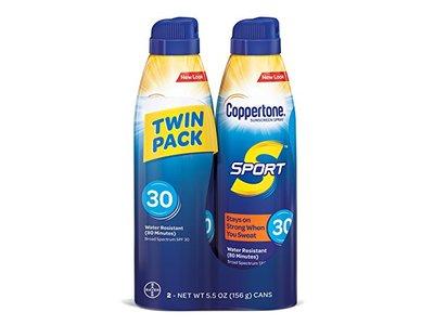 Coppertone Sport Sunscreen Spray SPF 30, Twin Pack 5.5 oz/156 g