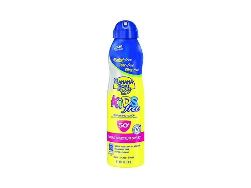 Banana Boat Sunscreen Kids Ultra Mist Tear-Free Sting Free Broad Spectrum Sun Care Sunscreen Spray, SPF 50, 6 Ounce